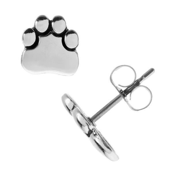 Journee Collection Sterling Silver Paw Print Stud Earrings