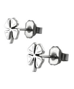 Tressa Sterling Silver Four-Leaf Clover Stud Earrings