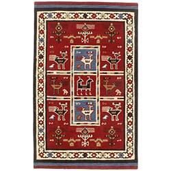 Hand-tufted Elite Tribal Wool Saffron Rug (4' x 6')