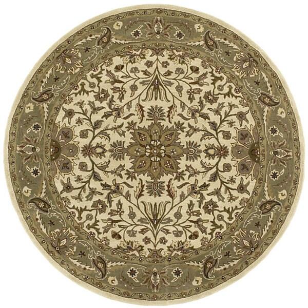 Handmade Elite Traditional Beige Wool Rug (6' Round)