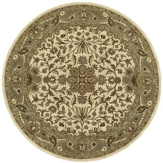 Handmade Elite Traditional Beige Wool Rug (6' Round)