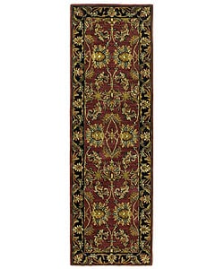 "Handmade Elite Traditional Wool Floral Runner Rug (2'6"" x 12')"