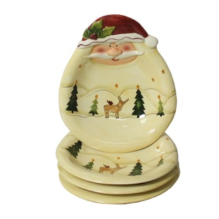 Santa Claus 4-piece Soup/ Salad Plate Set