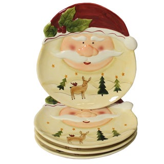 Santa Claus 4-piece Large Oval Dinner Plate Set