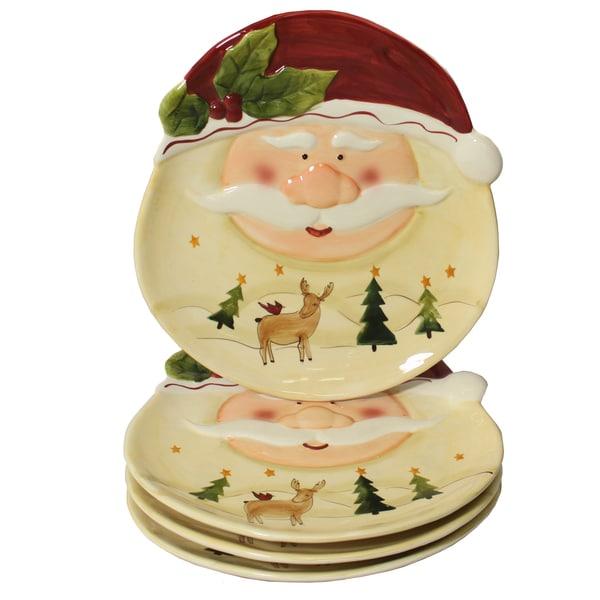 Santa Claus 4-piece Large Oval Dinner Plate Set