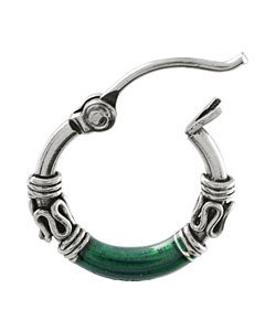 Tressa Sterling Silver Tribal Green Hoop Earrings