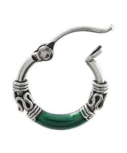 Tressa Sterling Silver Tribal Green Hoop Earrings