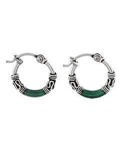 Journee Collection Sterling Silver Tribal Green Hoop Earrings