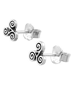 Tressa Sterling Silver Celtic Swirl Design Stud Earrings