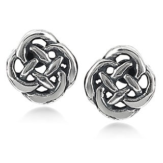 Journee Collection Sterling Silver Celtic Knot Stud Earrings