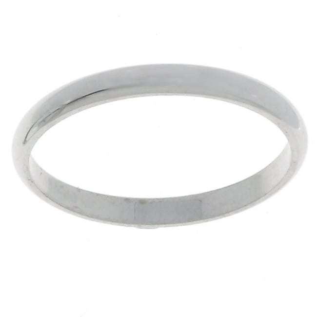 Platinum Traditional Wedding Ring with Half-round Band Design