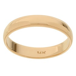 14k Yellow Gold Men's Milligrain 4-mm Wedding Band