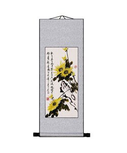 Chrysanthemum Flower Chinese Art Wall Scroll Hanging