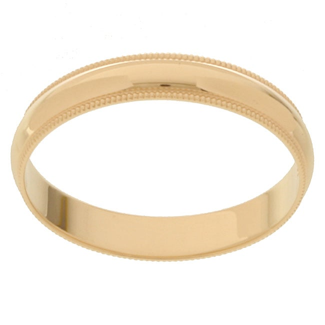 10k Yellow Gold Men's Milligrain 4-mm Wedding Band