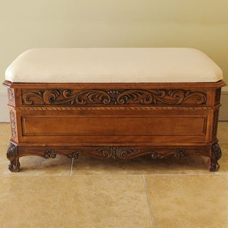 International Caravan Cushion Top Carved Trunk/ Bench