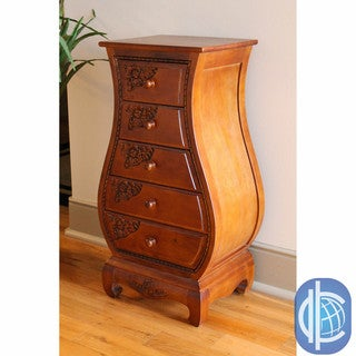 International Caravan Carved Wood 5-drawer Bombay Narrow Dresser
