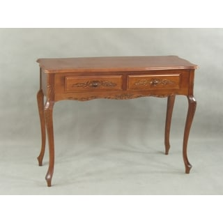 International Caravan Carved Wood 2-drawer Hall Table