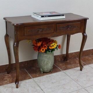 International Caravan Carved Wood 2-drawer Hall Table