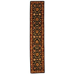 Handmade Heritage Kerman Black/ Peach Wool Runner (2'3 x 8')