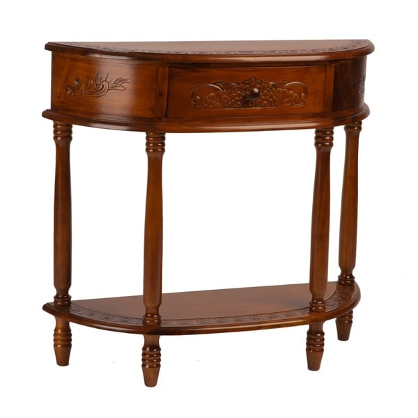 ... Caravan Carved Wood Half moon Hall Table Console Home Living  eBay