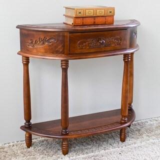 International Caravan Carved Wood Half-moon Hall Table