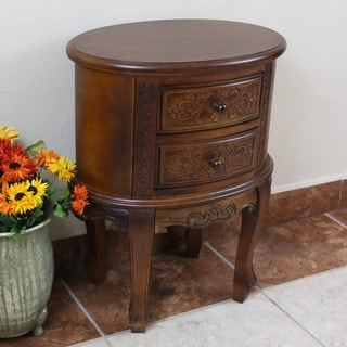 International Caravan Carved Wood Two-drawer Oval End Table