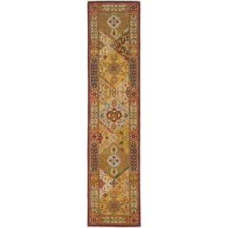 Handmade Diamond Bakhtiari Multi/ Red Wool Runner (2'3 x 8')