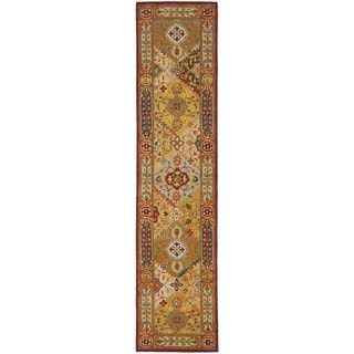 Handmade Diamond Bakhtiari Multi/ Red Wool Runner (2'3 x 10')