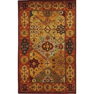 Handmade Heritage Diamond Bakhtiari Multi/ Red Wool Rug (3' x 5')
