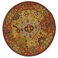Safavieh Handmade Diamond Bakhtiari Multi/ Red Wool Rug (3'6 Round)
