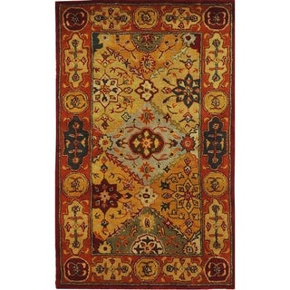 Safavieh Handmade Heritage Diamond Bakhtiari Multi/ Red Wool Rug (4' x 6')