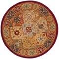 Safavieh Handmade Diamond Bakhtiari Multi/ Red Wool Rug (6' Round)