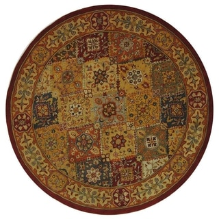 Handmade Diamond Bakhtiari Multi/ Red Wool Rug (8' Round)