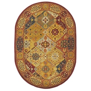 Handmade Diamond Bakhtiari Multi/ Red Wool Rug (4'6 x 6'6 Oval)