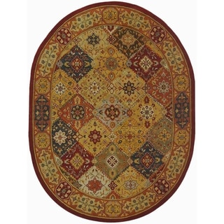 Handmade Diamond Bakhtiari Multi/ Red Wool Rug (7'6 x 9'6 Oval)