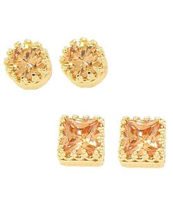 14k Goldplated Sterling Silver CZ Stud Earrings (Set of 2 Pair)