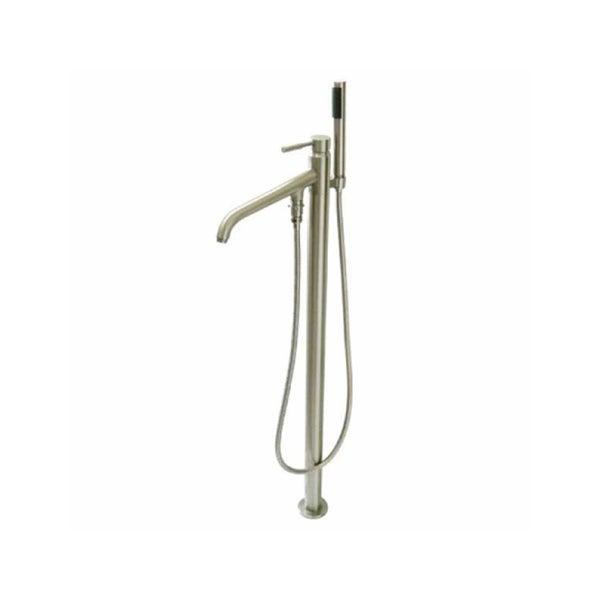 Freestanding Satin Nickel Floor-mount Bathtub Filler with Handshower