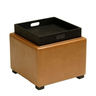 Safavieh Saddle Square Storage Tray Ottoman