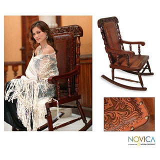 'Nobility' Cedar and Leather Rocking Chair (Peru)