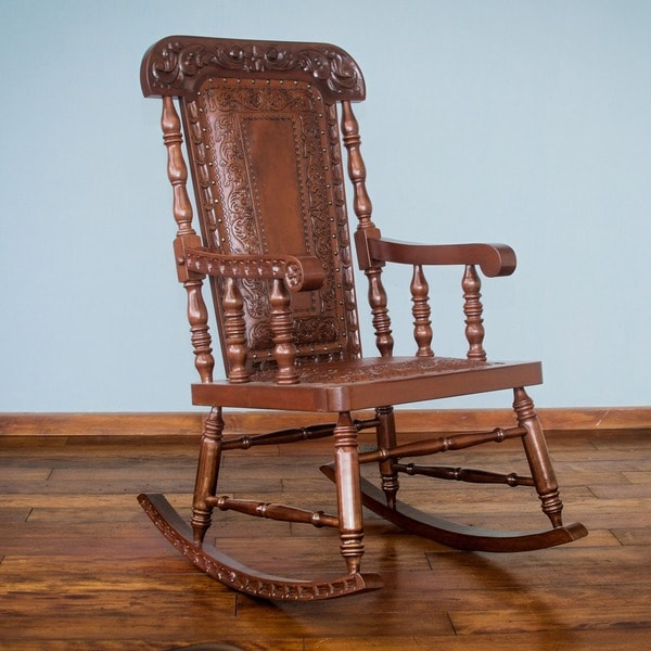 Nobility Cedar And Leather Rocking Chair Peru