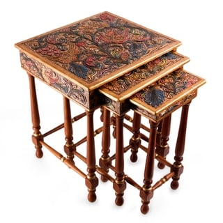 Traditional Hand Painted Multicolor Tooled Leather with Cedar Wood (Set of 3) Rectangular Stacking Nesting Accent Tables (Peru)