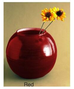 Bamboo Round Red Vase (Vietnam)