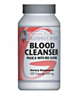 Grandma's Herbs 450mg Blood Cleaner Phase II with Red Clover (100 Capsules)