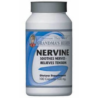 Grandma's Herbs Nervine 500mg Natural Stress and Tension Relief (100 Capsules)