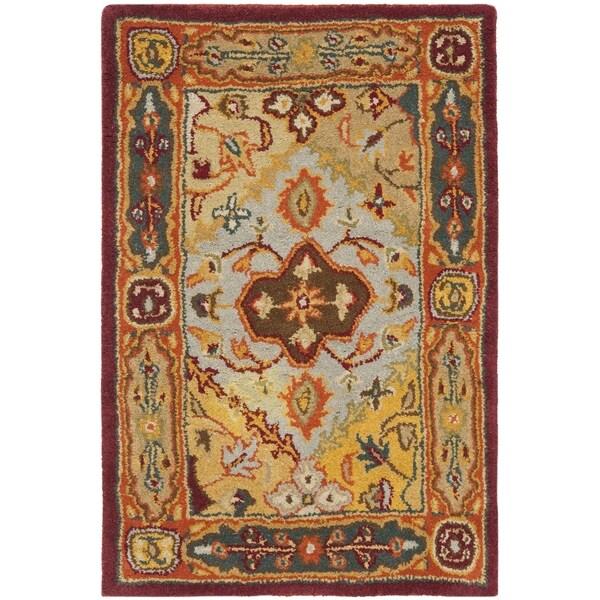 Safavieh Handmade Heritage Diamond Bakhtiari Multi/ Red Wool Rug (2' x 3')