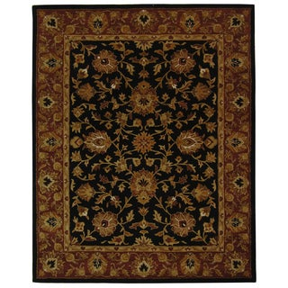 Safavieh Handmade Heritage Kerman Black/ Peach Wool Rug (7'6 x 9'6)