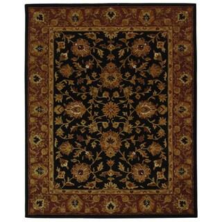 Safavieh Handmade Heritage Kerman Black/ Peach Wool Rug (9'6 x 13'6)
