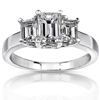 Annello 14k White Gold 1 3/4ct TDW Emerald-cut Diamond Ring ( H-I, SI )
