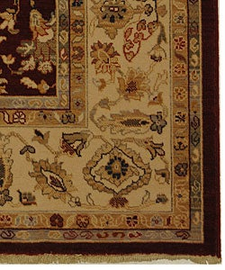 Handmade Kashan Red/ Ivory New Zealand Wool Rug (5'3 x 7'7)