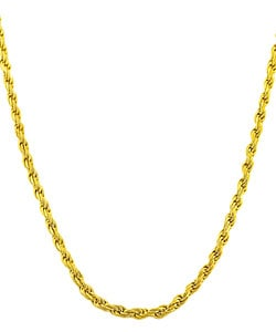 Fremada 14k Gold Overlay Sterling Silver Rope Necklace